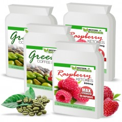 Raspberry Ketone 600mg & Green Coffee Bean 6000mg capsules (2 month supply)