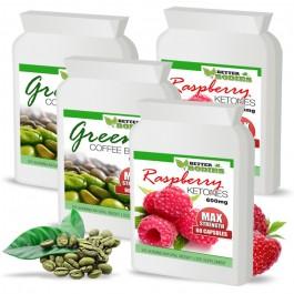 Raspberry Ketone 600mg & Green Coffee Bean 6000mg capsules (Best value pack)