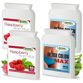 Raspberry Ketone Burn Plus™ & Detox Max™ Colon Cleanse Pack (2 month supply)