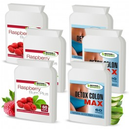 Raspberry Ketone Burn Plus™ & Detox Max™ Colon Cleanse Pack (3 month supply)