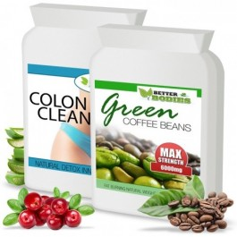 Green Coffee Bean Extract 6000mg & Colon Cleanse 1 month supply (120 capsules)