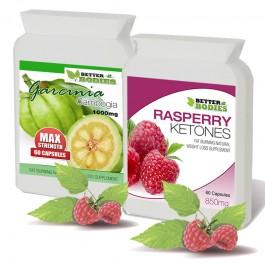 Raspberry ketone (60) & Garcinia Cambogia 1000mg (60) capsules combo pack