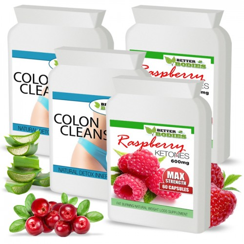 Raspberry Ketone 600mg Colon Cleanse Max Combo Pack (2 month supply)