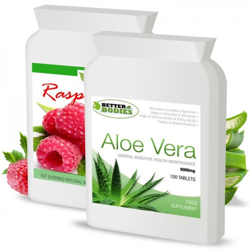 Raspberry Ketone 600mg & Aloe Vera Cleanse Combo (1 month supply)