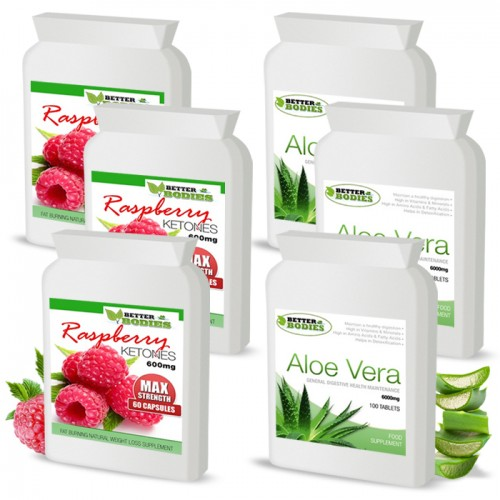 Raspberry Ketone 600mg & Aloe Vera Cleanse Combo (Best value pack)