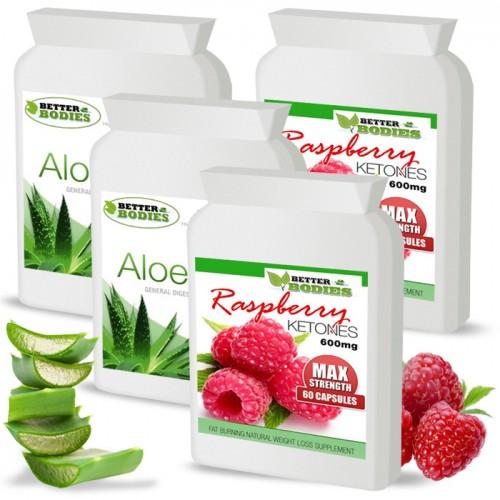 Raspberry Ketone 600mg & Aloe Vera Cleanse Combo (2 month supply)