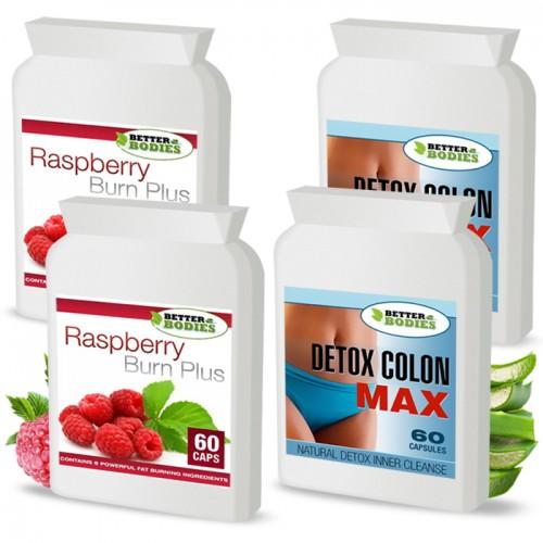 Raspberry Ketone Burn Plus™ & Detox Max™ Colon Cleanse Pack (2 month supply)