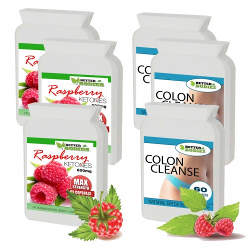 Raspberry Ketone 600mg Colon Cleanse Max Combo Pack (3 month supply)